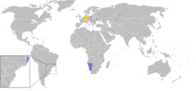 Розповсюдження німецької мови:  Офіційна мова  Широко вживана та зрозуміла і/або друга офіційна  Вживана на регіональному рівні