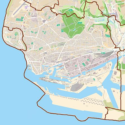 Map of Le Havre: to the south the Seine estuary; to the west the English Channel. Map Le Havre.jpg