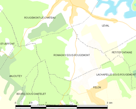 Mapa obce Romagny-sous-Rougemont