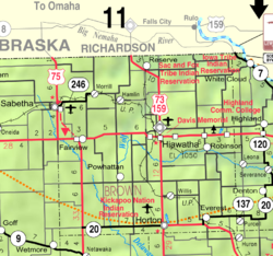 KDOT map of Brown County (legend)
