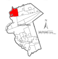 Map of Dauphin County, Pennsylvania highlighting Upper Paxton Township