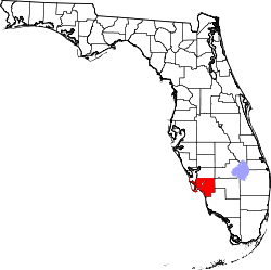 map of Florida highlighting Lee County