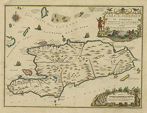 Saint-Domingue - French map of Saint-Domingue French colony in Hispanola island, by Nicolas de Fer