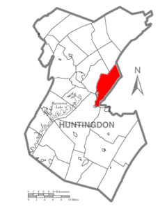 Map of Huntingdon County, Pennsylvania Highlighting Brady Township.PNG