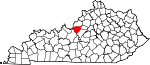 State map highlighting Bullitt County