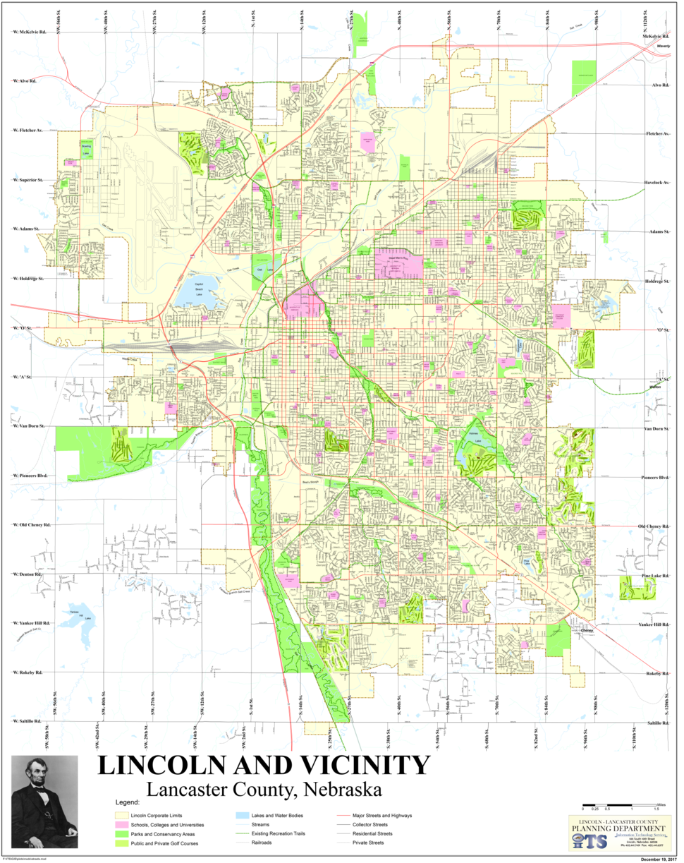 Map of Lincoln, Nebraska streets and features