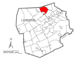 Map of Luzerne County highlighting Dallas Township