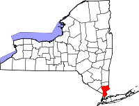 Map of New York highlighting Westchester County