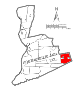 Map of Northumberland County, Pennsylvania highlighting Mount Carmel Township