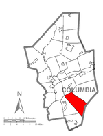 Map of Columbia County, Pennsylvania highlighting Roaring Creek Township