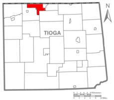 Map of Tioga County Highlighting Osceola Township