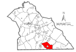 Map of York County, Pennsylvania highlighting Hopewell Township