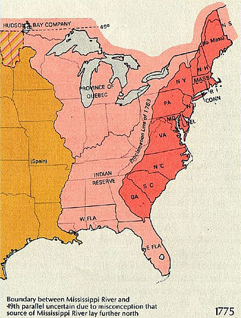 Eastern North America in 1775. The British Province of Quebec, the thirteen colonies on the Atlantic coast, and the Indian reserve as defined by the Royal Proclamation of 1763. The 1763 Proclamation line is the border between the red and the pink areas, while the orange area represents the Spanish claim.