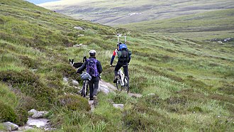 Scottish Outdoor Access Code - Mountain bikers on the Mar Lodge Estate in the Cairngorms.