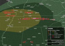 Kartalla on neljä EF0-tornadoota Tennessee ja Mississippi, kaksi EF1-tornadoa Tennessee ja Mississippi, kolme EF2-tornadoa Tennessee ja Kentucky, yksi EF3-tornado ja yksi EF4-tornado molemmat Tennessee.  Tornado-varoitukset ja tornadot ulottuvat pääasiassa Gibson County, Tennessee Nashville kautta Knox County.  Tornado-varoituksia on myös Missourissa, Tennessee, Kentucky ja Alabama.