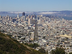Market Street (San Francisco) - Market Street is conspicuous in the view from Twin Peaks.