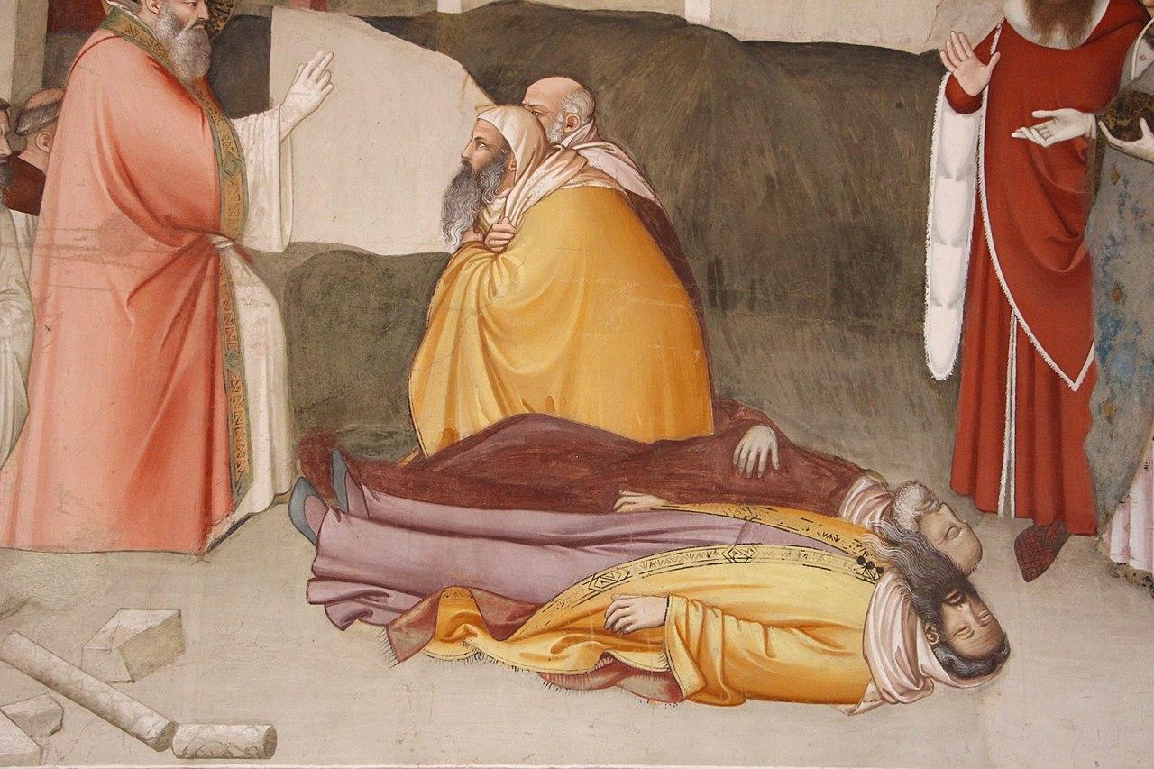 Maso di Banco, Storie di San Silvestro, Miracolo del drago (particolare, il santo resuscita due maghi uccisi dall'alito del mostro), Cappella Bardi di Vernio, Santa Croce, Firenze