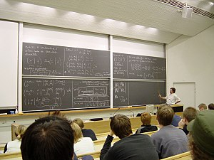 Aalto University - A lecture of mathematics for undergraduates inside the main building.