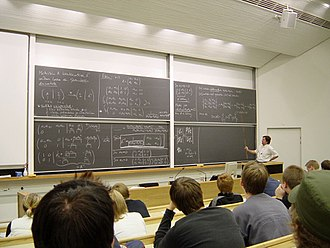Helsinki University of Technology - A lecture of mathematics for undergraduates inside the main building.