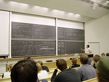 Students attend a lecture at a tertiary institution: Helsinki University of Technology Mathematics lecture at the Helsinki University of Technology.jpg
