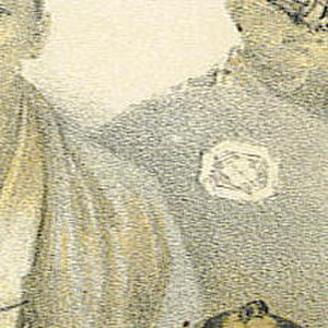 "Matsumae clan -  Cropped and enlarged segment of ""Deputy of the Prince of Matsmay"" (image at left). The detail of the Matsumae clan mon on the  clothing of the standing figure in background looks like four diamond-shapes turned sideways."
