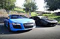Matte Blue Audi R8 and Matte Black Lamborghini Aventador (8771182275).jpg