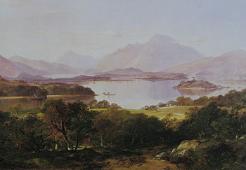 Painting of a lake with fading mountains in background and darker trees in foreground.