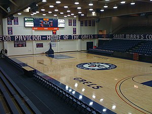 Saint Mary's Gaels men's basketball - Interior of McKeon Pavilion.