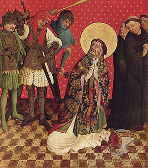 Assassinio nella cattedrale - The assassination of Thomas Becket in Canterbury Cathedral, the opera's central theme, in a 15th-century depiction by Francke
