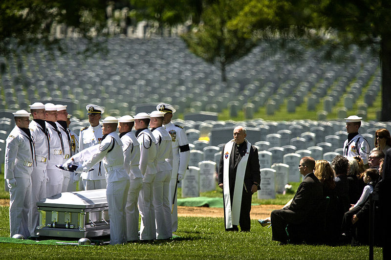A flag folding at a funeral for a military person carries great weight, without any script at all.  Wikimedia image from DOD release:  Members of the U.S. Navy Ceremonial Guard fold the American flag over the casket bearing the remains of sailors killed in the Vietnam War during a graveside interment ceremony at Arlington National Cemetery on May 2, 2013. Lt. Dennis Peterson, from Huntington Park, Calif.; Ensign Donald Frye, from Los Angeles; and Petty Officers 2nd Class William Jackson, from Stockdale, Texas, and Donald McGrane, from Waverly, Iowa, were killed when their SH-3A Sea King helicopter was shot down on July 19, 1967, over Ha Nam Province, North Vietnam. All four crewmembers were assigned to Helicopter Squadron 2.