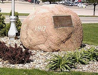 Merle Hay - Merle Hay memorial boulder in Des Moines, Iowa