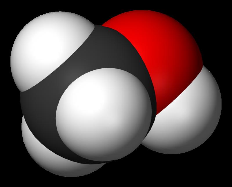 Spacefill model of methanol