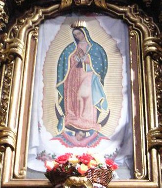 Aureola - Images of Mary, mother of Jesus, are often surrounded by an aureole, as in this image of Our Lady of Guadalupe.