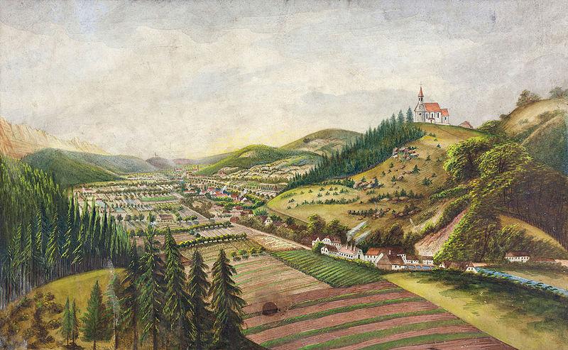 Datei:Micheldorf von Süden 19. Jahrhundert.jpg