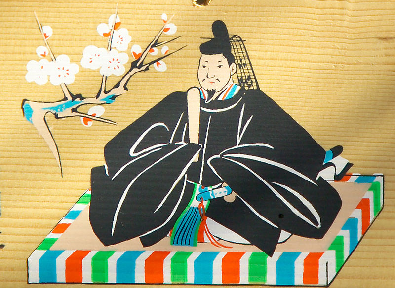Sugawara no Michizane is reverred as the God of learning, as seen on this ema at a Shinto Shrine