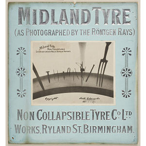John Hall-Edwards - An 1897 advert for the Non-Collapsible Tyre Co. Ltd. of Ryland Street, Birmingham, using an X-ray photograph by Hall-Edwards, and bearing his signature