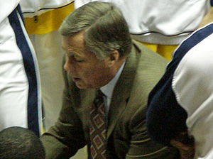 Mike Montgomery - Montgomery huddles with his players in December 2008