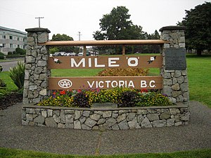 British Columbia Highway 1 - The beginning of Hwy 1 at the Mile Zero monument in Victoria