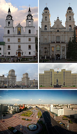 "Clockwise: Holy Spirit Cathedral (Eastern Orthodox), Cathedral of Saint Virgin Mary (Roman Catholic), House of Representatives of Belarus, Independence Square, ""Gates of Minsk"" at Train Station Square"
