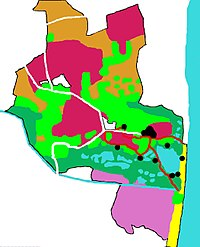 Colourful reserve map showing usage of different areas and how the reserve comes out to meet the coast.