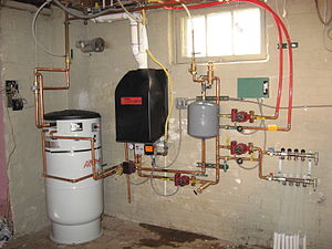 English: Condensing boiler installation with i...