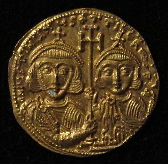 Tiberius (son of Justinian II) - Solidus with Tiberius IV and his father Justinian II on its reverse side.
