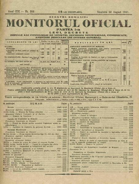 File:Monitorul Oficial al României. Partea 1 1941-08-30, nr. 205.pdf