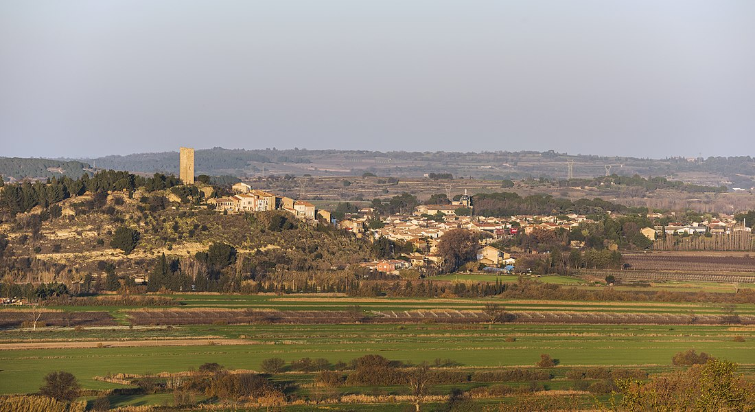 The village of Montady, Hérault, France