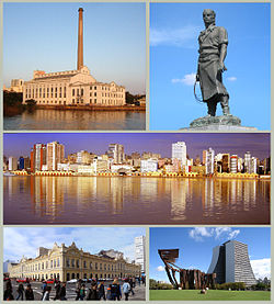 From upper left: Usina do Gasômetro; the Laçador statue (symbol of the city); panoramic view of the port; Public Market; Monument to the Azorean people with the Administrative Center of the State of Rio Grande do Sul.
