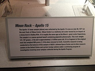 Sample-return mission - Moon rock from Apollo 15 interpretive sign.