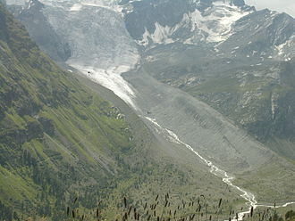 Moraine - Lateral moraines of a retreating glacier in Engadin