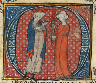 Post-Vulgate Cycle - Morgan le Fay gives King Arthur the fake Excalibur in a 14th-century copy of the Post-Vulgate Suite de Merlin