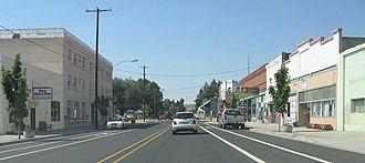 Moro, Oregon - Moro, viewed looking down US Highway 97, the town's main street