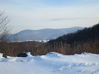 Mount Fitch (Massachusetts) - The northern section of the Greylock Range seen from Petersburg Pass includes (from left to right): Mt. Williams (2,951 ft.), Mt. Fitch (3,110 ft.), Mt. Prospect (2,677 ft. - below the horizon in this view), and Mt. Greylock (3,491 ft.)